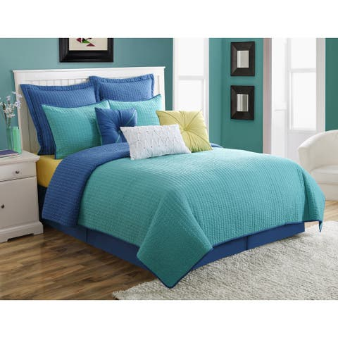 Dash Lapis/Turquoise Solid Color Reversible Quilt Set