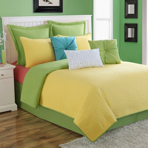 Dash Sunflower/Lemongrass Solid Color Reversible Quilt Set