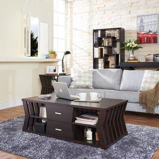Furniture of America Jai Modern Espresso 4-shelf Slatted Coffee Table