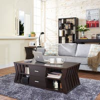 Furniture of America Loxie Modern Espresso Slatted Coffee Table