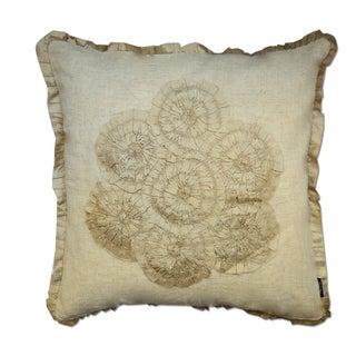 Beige Floral Cotton Flex 18-inch Throw Pillow
