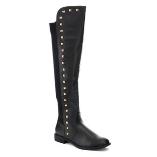 LILIANA TROY-2 Women's Stretchy Long Zipper Over The Knee High Riding Boots