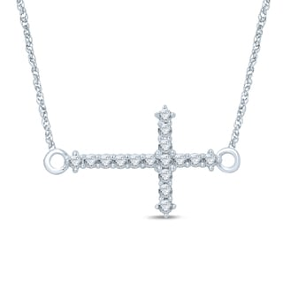 Unending Love 10k White Gold 1/6ct TDW Diamond Sideways Cross Necklace (I-J, I2-I3)