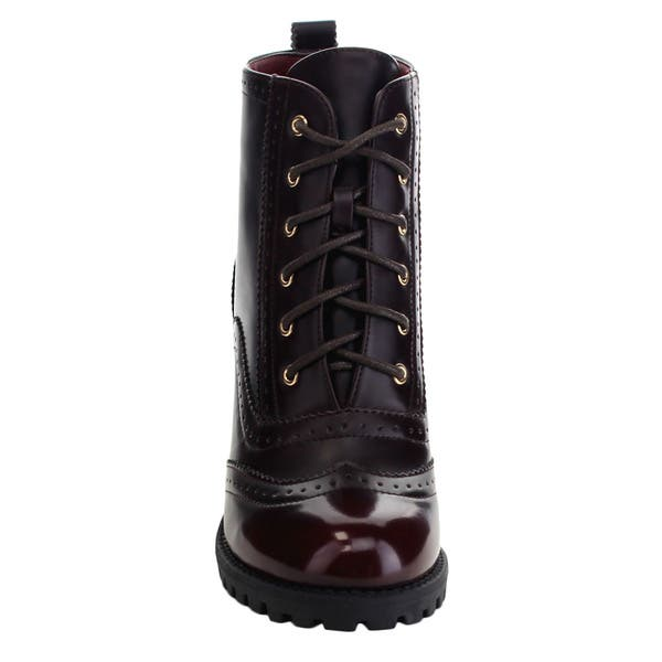 Shop Bella Marie Elvy 21 Women S Lovely Perforated Lace Up Lug