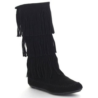 NATURE BREEZE CHEROKEE-03 Women's Comfort Moccasin Fringe Boot