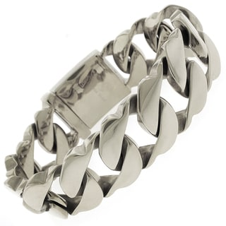 Stainless Steel Men's Thick Fancy 8.5-inch Cuban Bracelet