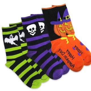 Women's Halloween Ghost, Skeleton, Pumpkin Crew Socks 3 Pairs