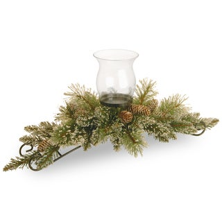 """30"""" Glittery Bristle Pine Centerpiece and Candle Holder"""