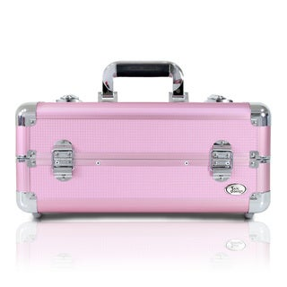Jacki Design Light Pink Aluminum 6-inch Carry-on Makeup Case