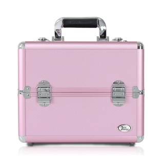 Jacki Design Light Pink Aluminum 10-inch Carry-on Makeup Case