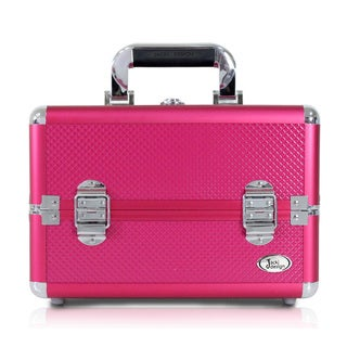 Jacki Design Hot Pink Aluminum 7-inch Carry-on Makeup Case