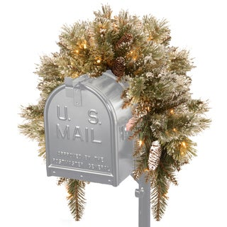 "36"" Glittery Bristle Pine Mailbox Swag with Battery Operated Warm White LED Lights"