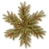 """32"""" Dunhill Fir Snowy Snowflake with Battery Operated Warm White LED Lights"""