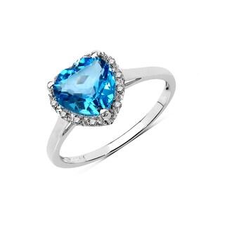 Olivia Leone 10k White Gold 2 1/6ct Swiss Blue Topaz and Diamond Accent Ring