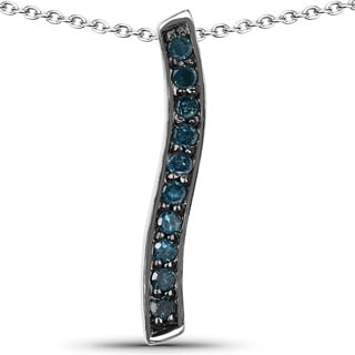 Malaika .925 Sterling Silver 0.30 Carat Genuine Blue Diamond Pendant (I2-I3)