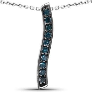 Malaika .925 Sterling Silver 0.30 Carat Genuine Blue Diamond Pendant