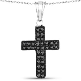 Malaika .925 Sterling Silver 0.51 Carat Genuine Black Diamond cross Pendant