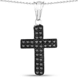 Malaika .925 Sterling Silver 0.51 Carat Genuine Black Diamond cross Pendant