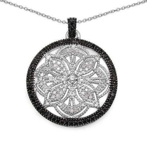 Malaika .925 Sterling Silver 0.34 Carat Genuine Blue & White Diamond Pendant