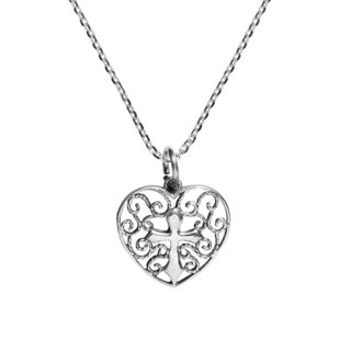 Handmade Love of Faith Heart and Cross .925 Sterling Silver Necklace (Thailand)