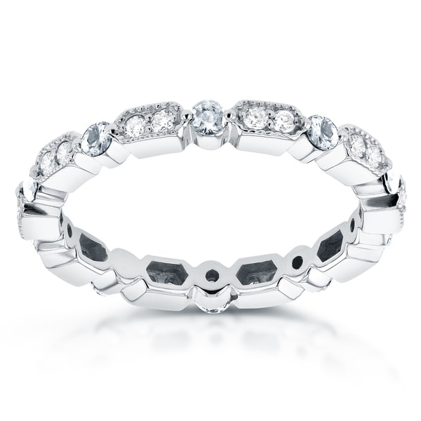 Annello by Kobelli 14k White Gold 1/2ct TDW Diamond Milgrain Pattern Eternity Ring