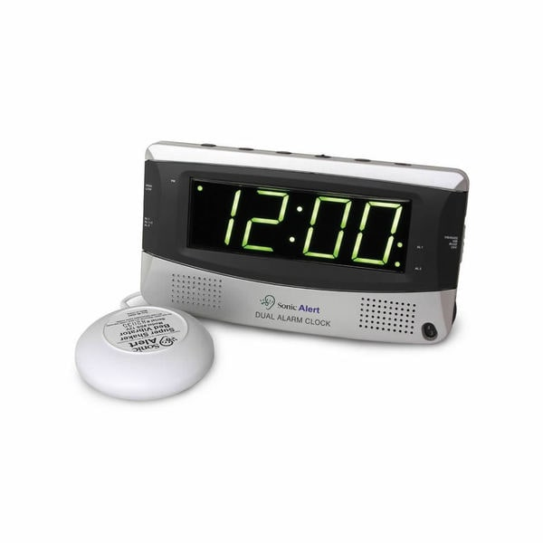 Sonic Alert Silver Dual Alarm Clock with Super Shaker