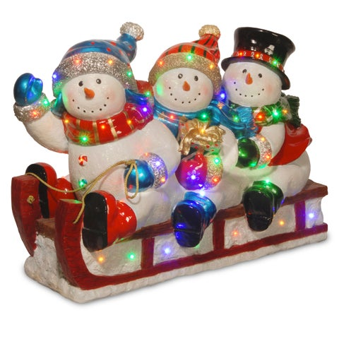 "29"" Pre-Lit Sledding Snowmen Decoration"