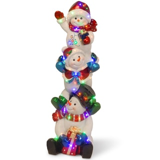 "61"" Pre-Lit Stacked Snowmen Decoration"