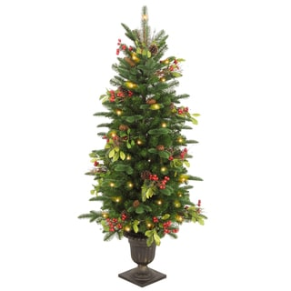 4 ft. Decorative Collection Berry Leaf Entrance Tree