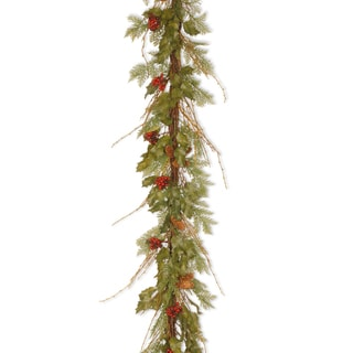 6 ft. Decorative Collection Holly Fern Vine Garland