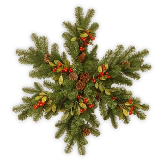 """32"""" Decorative Collection Berry Leaf Snowflake with Battery Operated Warm White LED Lights"""