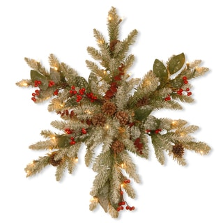"32"" Decorative Collection Eucalyptus Snowflake with Clear Lights"
