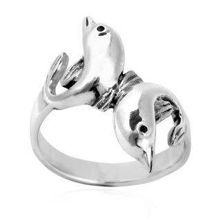 Playful Twin Dolphin Harmony .925 Sterling Silver Ring (Thailand)