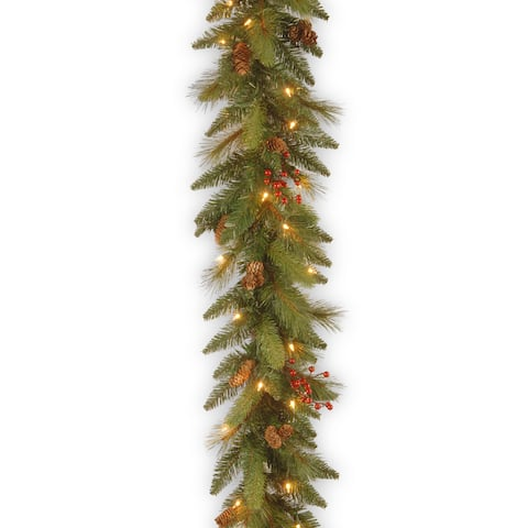6 ft. Decorative Collection Long Needle Pine Cone Garland with Clear Lights
