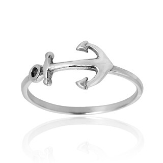 Nautical Anchor of Hope Band .925 Sterling Silver Ring (Thailand)