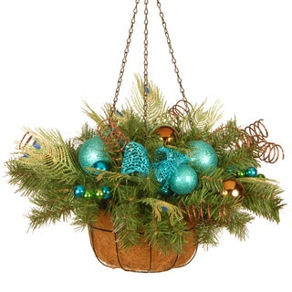 "22"" Decorative Collection Peacock Hanging Basket"