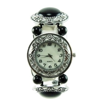 Women's Black Onyx Stretch Band Watch Silver Bezel Easy Read Dial