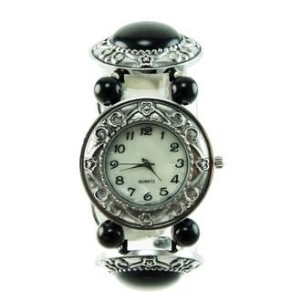 Women's Black Onyx Stretch Band Watch Silver Bezel Easy Read Dial