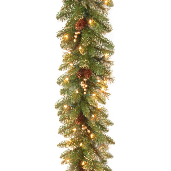 9 ft. Glittery Gold Pine Garland with Clear Lights