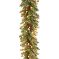 National Tree Company 9 ft. Glittery Gold Pine Garland with Clear Lights