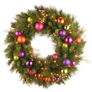 """30"""" Kaleidoscope Wreath with Battery Operated Warm White LED Lights"""