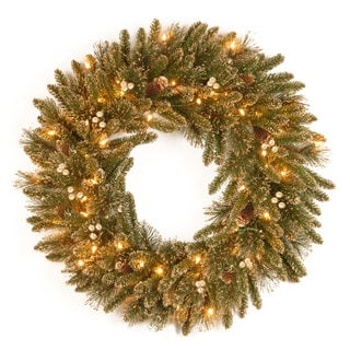 "30"" Glittery Gold Pine Wreath with Clear Lights"
