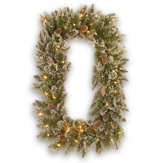 "36"" Glittery Bristle Pine Wreath with Battery Operated Warm White LED Lights"