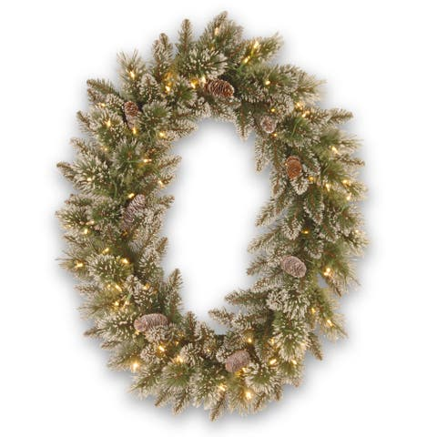 """30"""" Glittery Bristle Pine Wreath with Battery Operated Warm White LED Lights"""