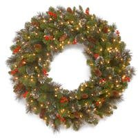 "36"" Crestwood Spruce Wreath with Clear Lights"