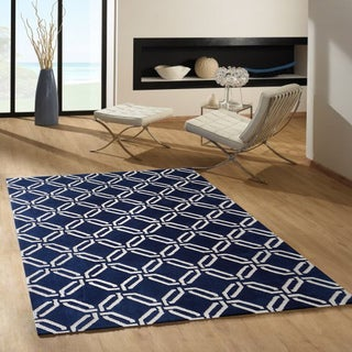 Microfiber Woven Navy Blue and White Rug (5' x 7')