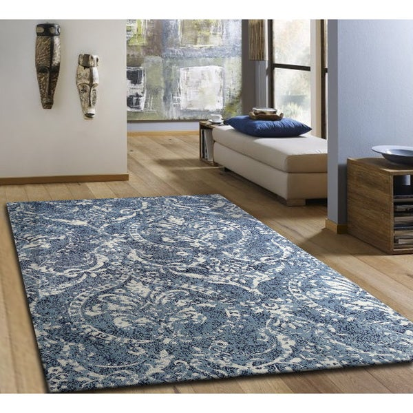 Microfiber Woven Royal Blue And White Area Rug 5 X 7 5 X 7 Free Shipping Today