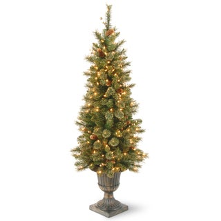 4 ft. Glittery Gold Pine Entrance Tree with Clear Lights