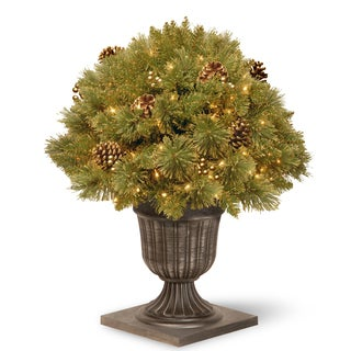 "26"" Glittery Gold Pine Porch Bush with Clear Lights"