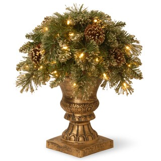 "18"" Glittery Gold Pine Porch Bush with Clear Lights"